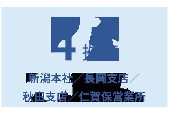4拠点 新潟本社/長岡支店/秋田支店/仁賀保営業所